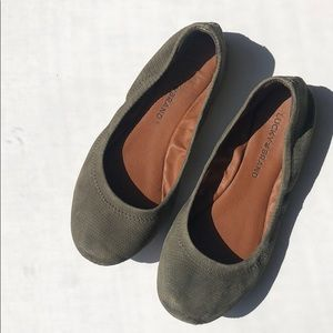 Lucky Brand Emile Leather Flats in Green